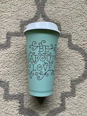Starbucks Reusable Plastic Coffee Cup Be About Love Saying, Excellent Condition!