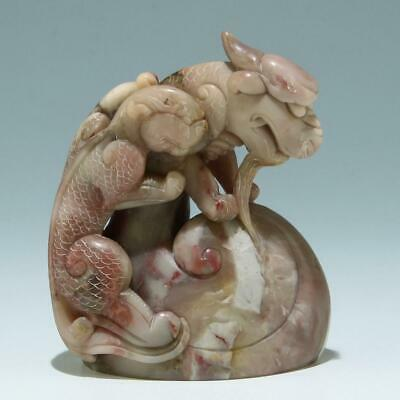 A Good Chinese Soapstone Carving of A Pair of Mythical Beasts