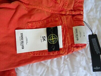 Stone Island Junior Orange Skinny Fit Jeans Age 8 New With Tags