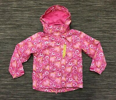 Mountain Warehouse Girls 5-6 Detachable Hood Waterproof Jacket Coat Pink Mix
