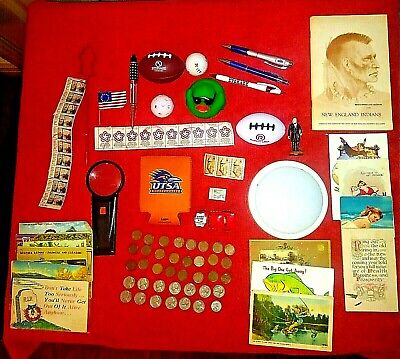 Junk Drawer 1900's Cards, COINS, Stamps, Toys, Push Light, Office, Misc Lot #103
