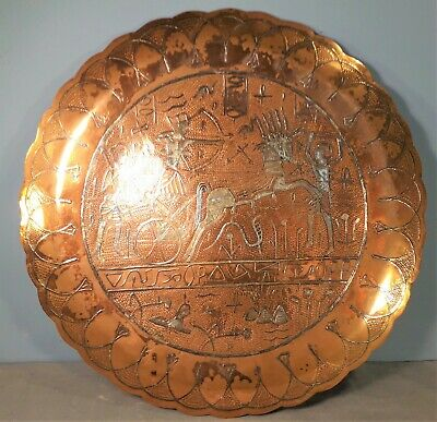 Large Copper & Silver Inlay Cairoware Tray with Ancient Egyptian Characters
