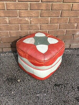 Vintage 1960's Footstool Pouffe, Rest, Retro, Leather, Patina, Upcycling Project