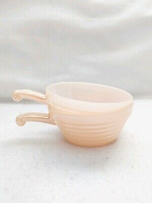 2 Vtg Fire King Oven Ware Peach Luster Bee Hive Handled Soup Chili Bowls MCM