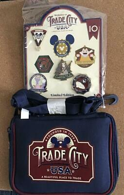 Disney Trade City USA Mini Pin Trading Bag and Set of 4 Pins - NEW -  LE 300