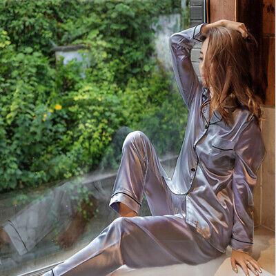 Ladies Satin Silk Pyjama Set Silky Lounge wear Pajamas Long sleeve trousers