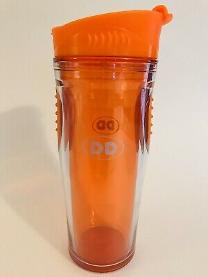 Dunkin Donuts Tumbler Travel Cup 16 Oz Orange,  Hot Cold Beverages EUC