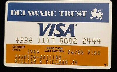 Delaware Trust Visa Credit Card exp 1986 ♡Free Shipping♡ cc137 Lehigh Valley AAA