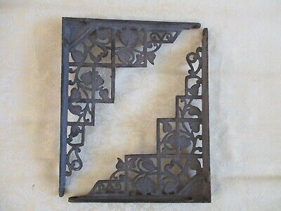 Pair of Antique Victorian Cast-Iron Leafy Vine Shelf/Wall/Garden Brackets/Braces