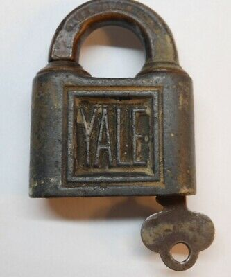 Antique Yale Iron Padlock Lock & Key Old Push Key Lock