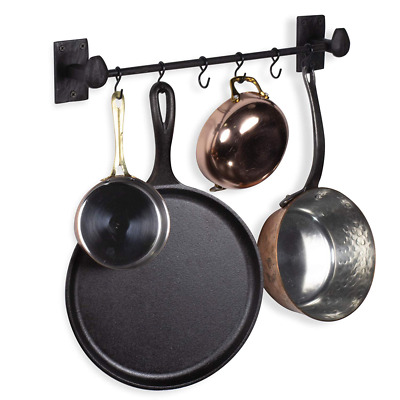 Rustic State Wall Mount Motris Cast Iron Pot Rack Kitchen Rail with 6 Hooks 17.2