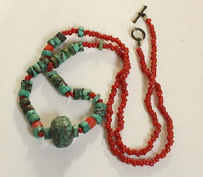 Vintage antique Native American turquoise and coral heishi beaded necklace