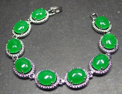 Gold Plate CHINESE Icy Green JADE Pendant Cobachon Teardrop Necklace 277232
