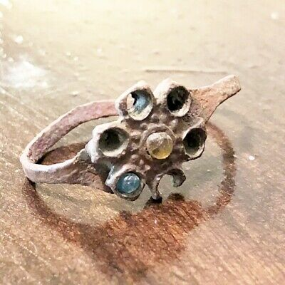 Late Or Post Medieval Style Ring With Stone European Old Artifact Flower Jewelry