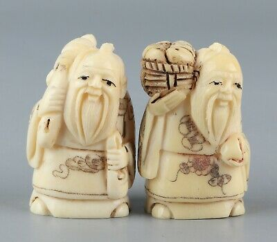 Chinese Exquisite Hand-carved Old man Carving antlers statue 2pcs