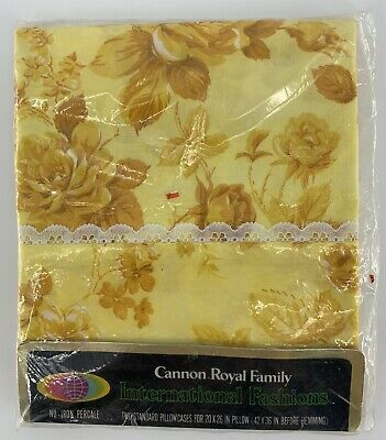 Vintage Cannon Royal 2 Standard Pillowcases Percale No Iron Yellow Gold Floral