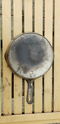 Vtg Wapak # No 7 Cast Iron Skillet Pan Heat Ring Antique USA Plated Arch Logo