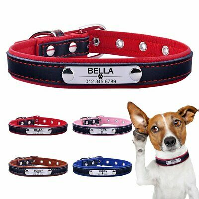 Leather Personalized Dog Collar ID Tag Custom Engraved Name Small Medium Large