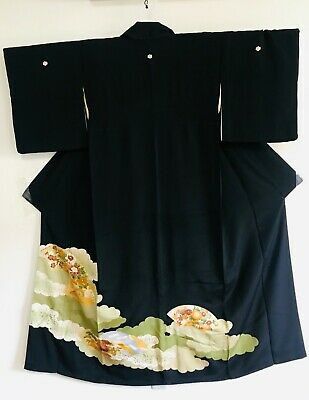 """High Quality """"Tomesode"""" Black Kimono Decorated with Fans & 5 Mons #354"""