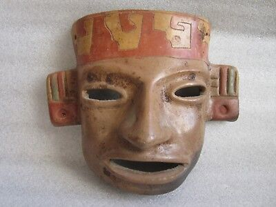 Beautiful Vintage Pre-Columbian Polychrome Pottery Mask