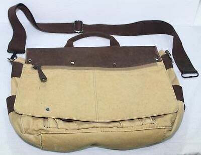 VTG Fossil Brand Genuine Quality Leather & Canvas Shoulder Laptop Messenger Bag