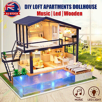 DIY LED Music Apartments Dollhouse Miniature Wooden Furniture Kit Doll House H