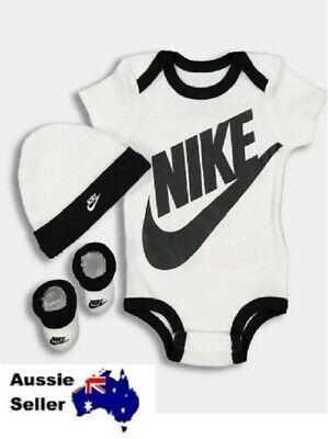 NEW! Nike Boxed Baby Gift Set - Bib Bodysuit Booties 3 FUTURA THREE-PIECE INFANT
