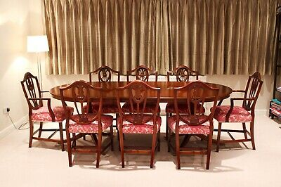 Antique Bevan and Funnell Mahogany Dining Room Table and Chairs 6 or 8 Seats