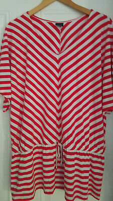 Women's Faded Glory Knit Red/White Striped Drawstring Loose Fit Blouse XL(16-18)