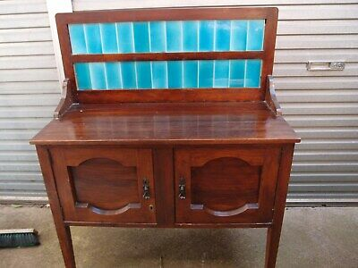 Antique washstand aqua tiled spashback