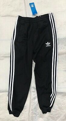 "Bnwt Unisex "" Adidas "" Black With Stripes Tracksuit Bottoms - 11 / 12 Years !"