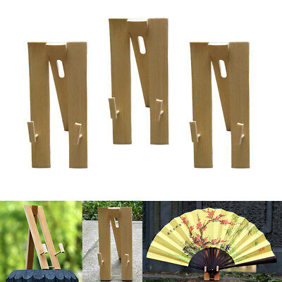 3x Hand Fan Display Stands Bamboo Adjustable Chinese Folding Fan Holder