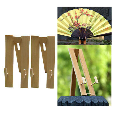 2Pcs Hand Fan Display Stands Bamboo Party Japanese Folding Fan Holder Base