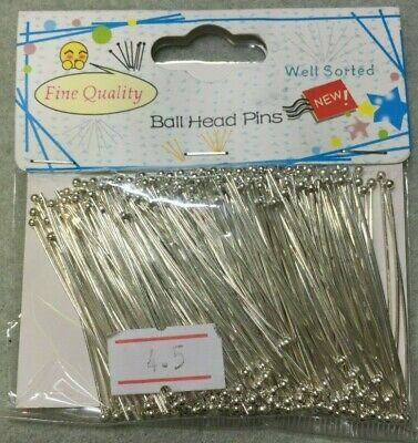 Ball end head pins silver plated 45mm x 0.7mm