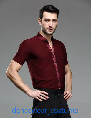 Latin Tight Fitting Dance Shirts Men Party Ballroom Tango Salsa Competition Tops
