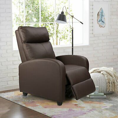 Recliner Chair Leather Overstuff Sofa Push Back ArmChair Living Room Padded Seat