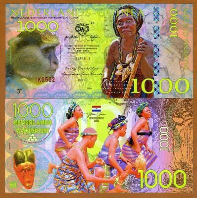 Netherlands Guinea (Ghana) 1000 Gulden, 2016 Private Issue POLYMER FDS