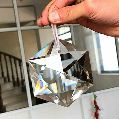 Clear Glass Crystal Chandelier Hanging Part Large Prisms Pendant Hexagram 100mm