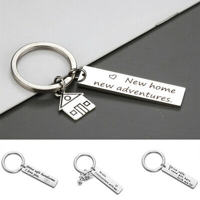 Stainless Steel Couples I Need You Here Drive Safe Fly Safe Keychain Key Rings