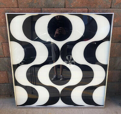 """Mid Century Turner Optical Pop Art Mod Reverse Painted Glass 37"""" Op Space Age"""