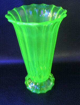 Art Deco Czech-Bohemia 1930's Vaseline Glass Vase-signed Czechoslov.