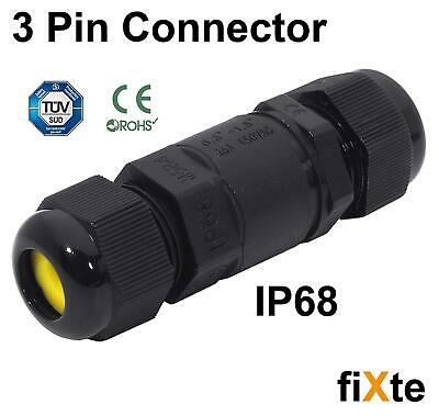 fiXte® 16A 450V 3 Pin IP68 Waterproof Electrical Cable Wire Connector 4M Depth