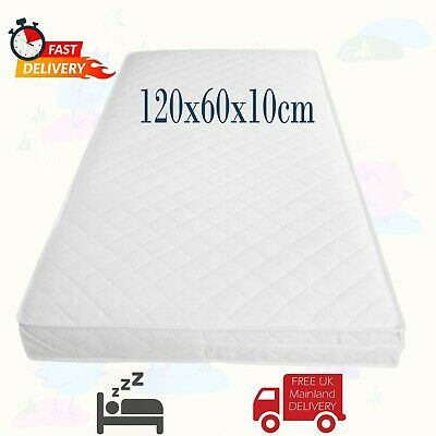 COT BED MATTRESS Quilted Baby Waterproof Breathable Extra Thick 120x60x10cm