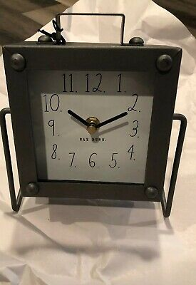 Rae Dunn Clock Metal Color Square Battery Operated New & VHTF Art Deco