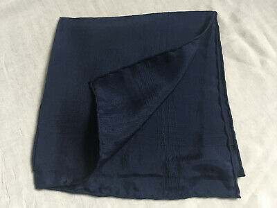 Vintage BLUE 100% PURE SILK MENS HANDKERCHIEFS POCKET SQUARE Made in England