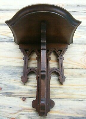 A Reclaimed Carved Gothic Church Wooden Wall Bracket Clock Shelf