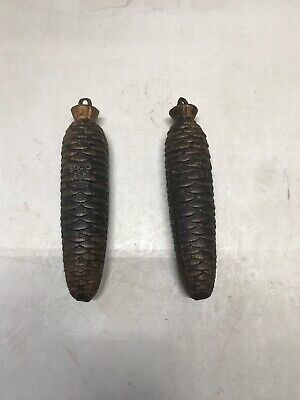Two (2) Vintage Pine Cone Design Cast Iron Grandfather Clock Weights
