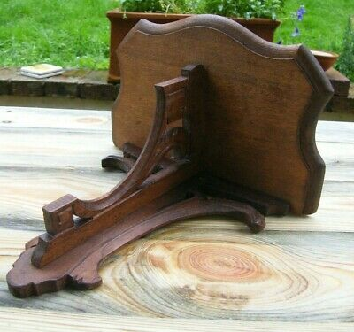 A Reclaimed Carved Gothic Church Wooden Wall Bracket Clock Shelf #1