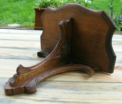 A Reclaimed Carved Gothic Church Wooden Wall Bracket Clock Shelf #2