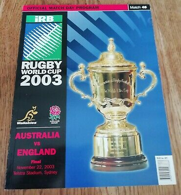 Rugby World Cup 2003 Final Programme England Vs Australia World Cup + stamps